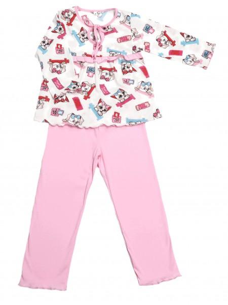 "Пижама для девочки на кокетке ""Кошки"""