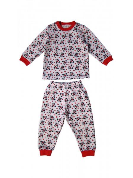 Пижама детская теплая на манжетах для девочки (цв. в ассорт)