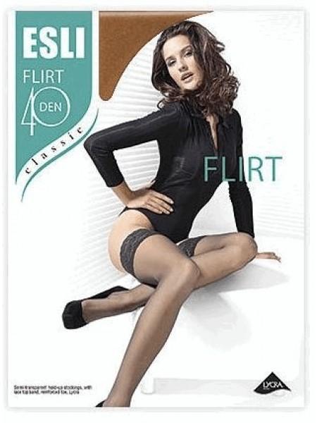 Плотные чулки FLIRT 40 den с ажур (темно-бежевые)