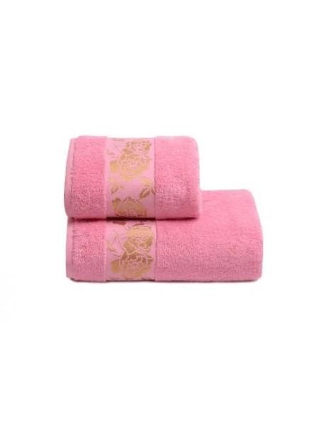 Полотенце 70*130 Gold Flower 420гр/м2, цв.розовый