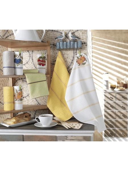 """Комплект полотенец 2шт (45*60)  вафел.+махровое """"Персик"""" с петелькой"""