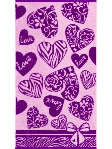 Полотенце махр. 50*90 Сердечки (420гр/м2)