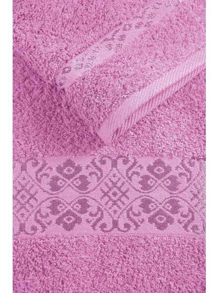 Простыня махровая 1,5сп. 150*212 с вискозным бордюром (розовая)