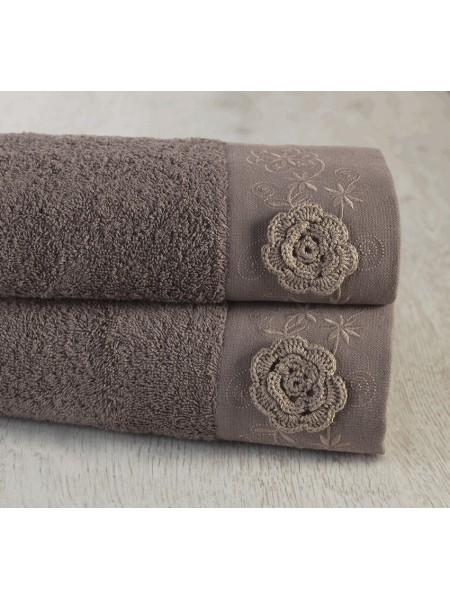 Полотенце махровое 70х140 Прованс (ручной работы) цв. коричневый