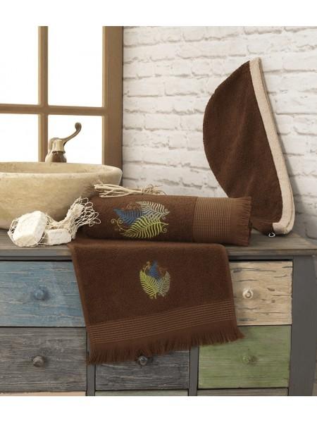 Полотенце махровое 70х140 банное с кисточками (коричневое)