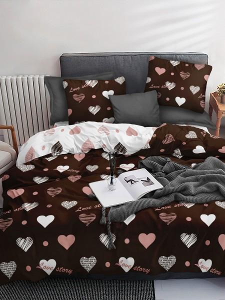 КПБ 1.5  Поплин Sweet Sleep Love Story(шоколад)