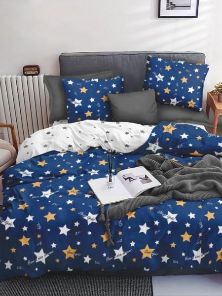 КПБ 2сп  Поплин Sweet Sleep Звездный вид(синий)