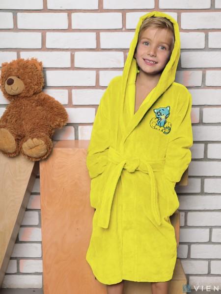Халат махровый детский с капюшоном Малыш бамбук(желтый)