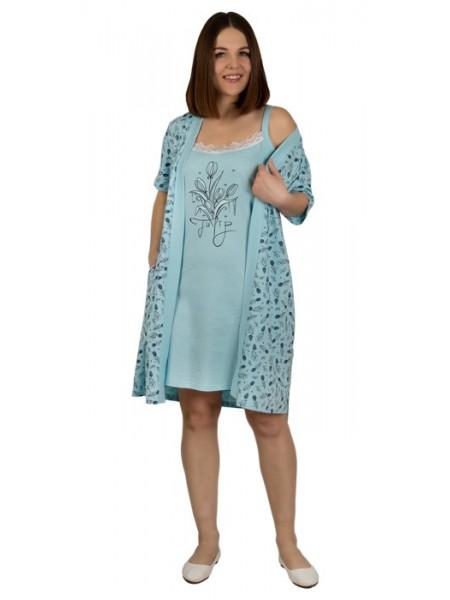 Комплект женский (халат+сорочка) П-19-01 цвет в ассорт.