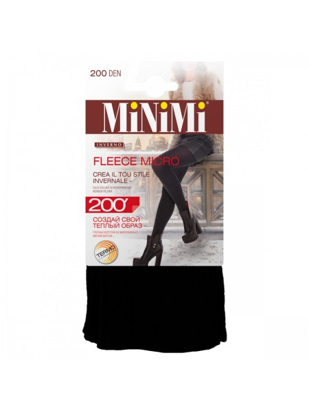 Колготки женские термо 200 Den FLEECE  (МИКРОФИБРА С ФЛИСОМ) nero