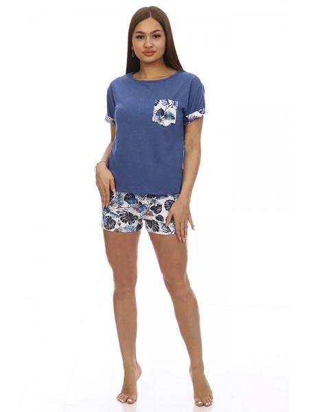 "Пижама с шортами ""Таити"", индиго Каприз р-р 42-52"
