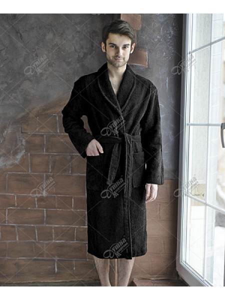 Халат муж махровый шалька (цвет черный)