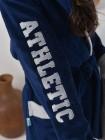 Халат жен махровый (бамбук) Atletik c капюшоном (синий)
