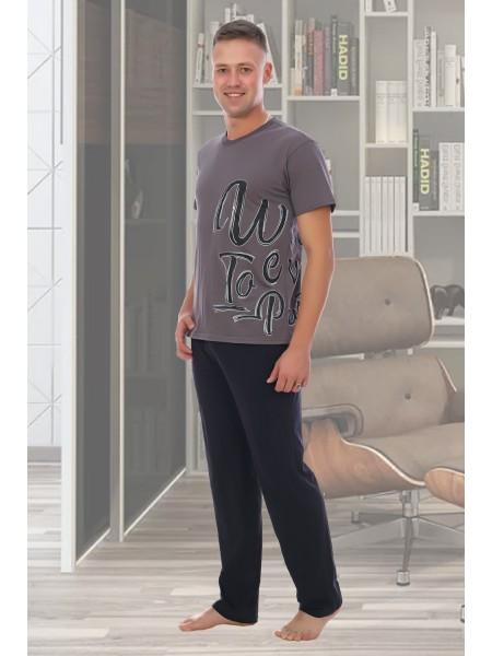 """Комплект муж.домашний с однотонные брюками """"Оптимус"""""""
