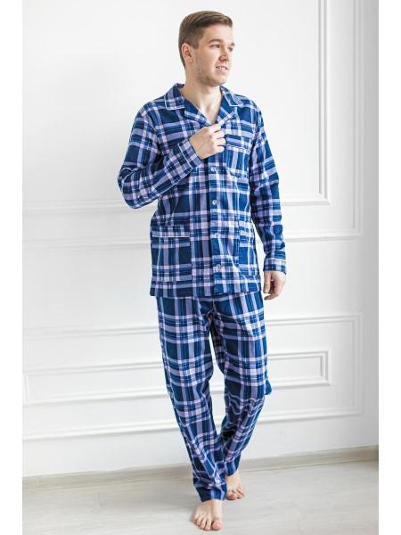 Пижама мужская фланель на пуговках (100% хлопок) LikaDress