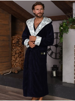 Халат муж махровый (бамбук) с капюшоном DONALD (350г/м²)/navy