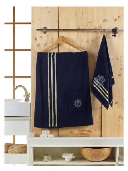 Комплект для сауны муж 2пр (килт+полотенце 50*90) 380гр/м2 Sevakin/синий