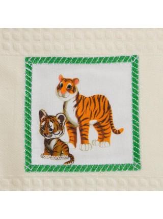"""Комплект кух. ваф.  полотенец 2 шт."""""""" с вышивкой """" Тигрица с тигрятами"""""""
