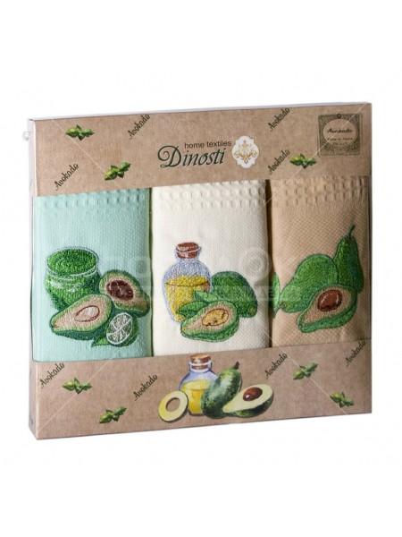 """Комплект полотенец 3 шт.""""Dinosti"""" с вышивкой (Авокадо)"""