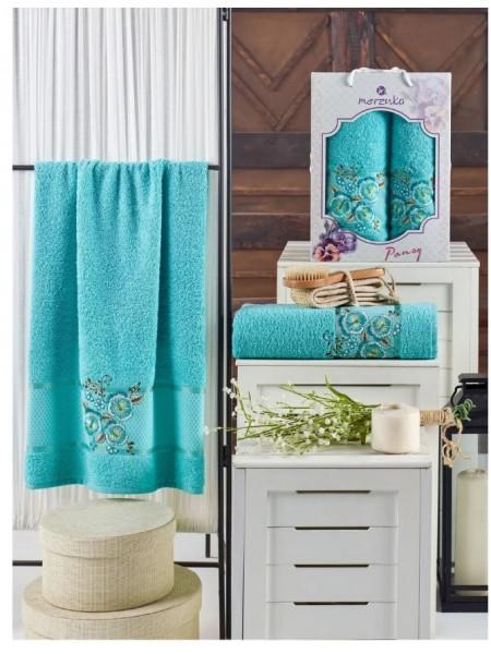 Набор махровых полотенец MERZUKA  Бирюзовый 50x90, 70x140 см, 2 шт.