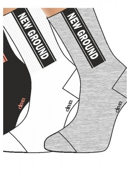 Носки жен. Клевер спорт высокие с надписью цв. в ассорт