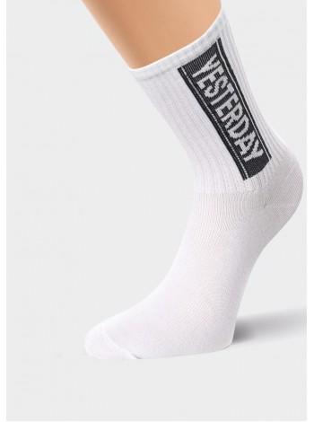 Носки жен. Клевер спорт высокие с надписью(белые)