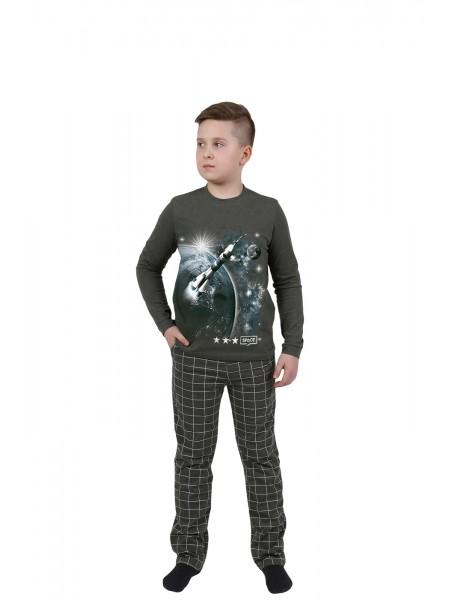 Пижама детская для мальчика Оптима, рост 140 цвет т. синий
