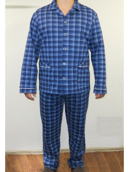 Пижама мужская теплая(футер) на пуговках (100% хлопок) Сатурн