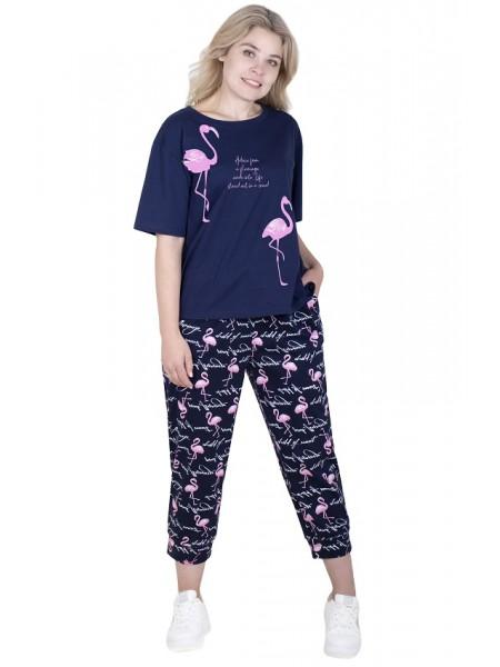 Пижама с укорочеными брюками Фламинго