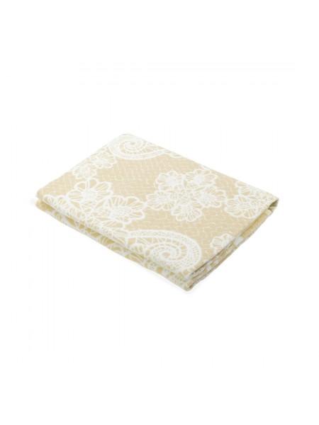 Одеяло байковое 150*212 (100% хлопок) ПРЕМИУМ Кружево беж