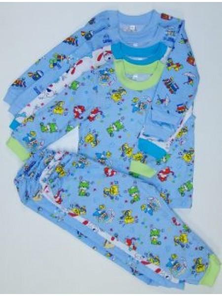 Пижама детская теплая на манжетах для мальчика (цв. в ассорт)
