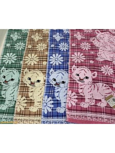 Полотенце 70*135 ткань/махра Тигры в ромашках цвет в ассорт.