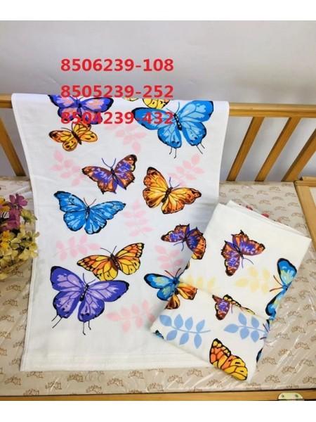 """Полотенце махра/ткань 34*75  """"Цветные бабочки"""""""