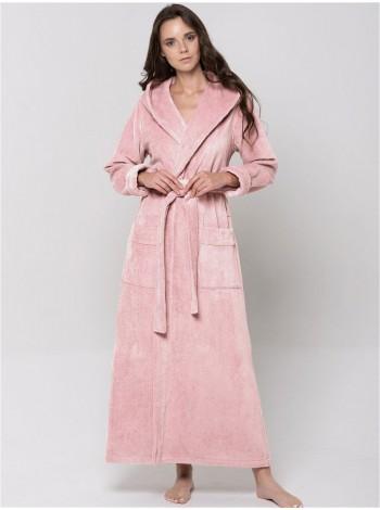 Халат бамбуковый жен махровый  с капюшоном LADY (rose)