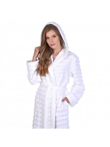 Халат махровый жен.с капюшоном La nuvola 400гр/м2(белый)