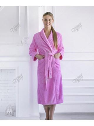 Халат махровый женский ( розовый)
