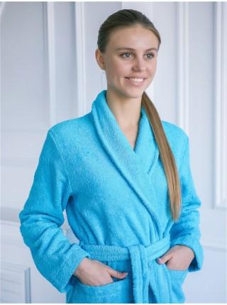 Халат махровый женский (голубой)